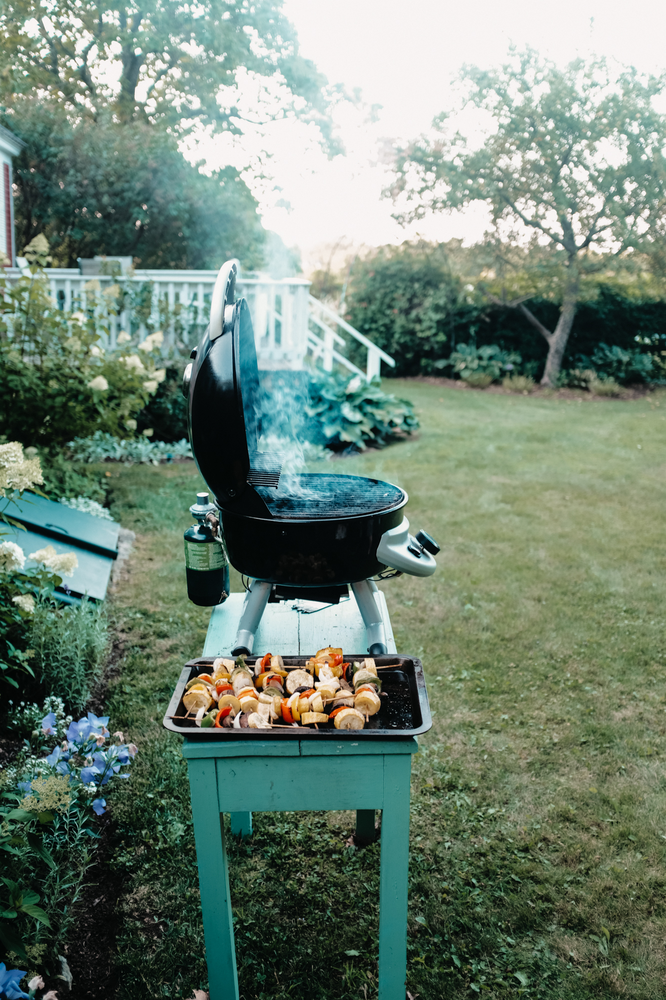 A grill with roasting vegetables in a backyard in summer, New Hampshire, New England.