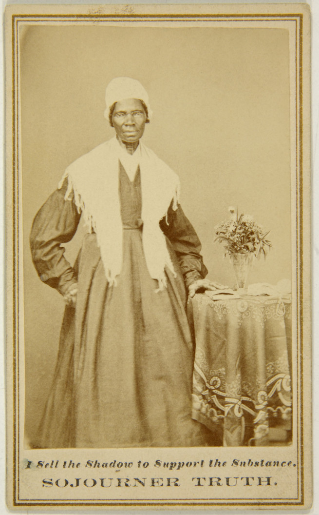 3-sojourner-truth-web   [image] Unknown photographer  (American). Captioned carte de visite of Sojourner Truth c. 1864-65. Albumen print mounted on cardboard. 4 x 2 1/2 in. UC Berkeley Art Museum and Pacific Film Archive, gift of Darcy Grimaldo Grigsby