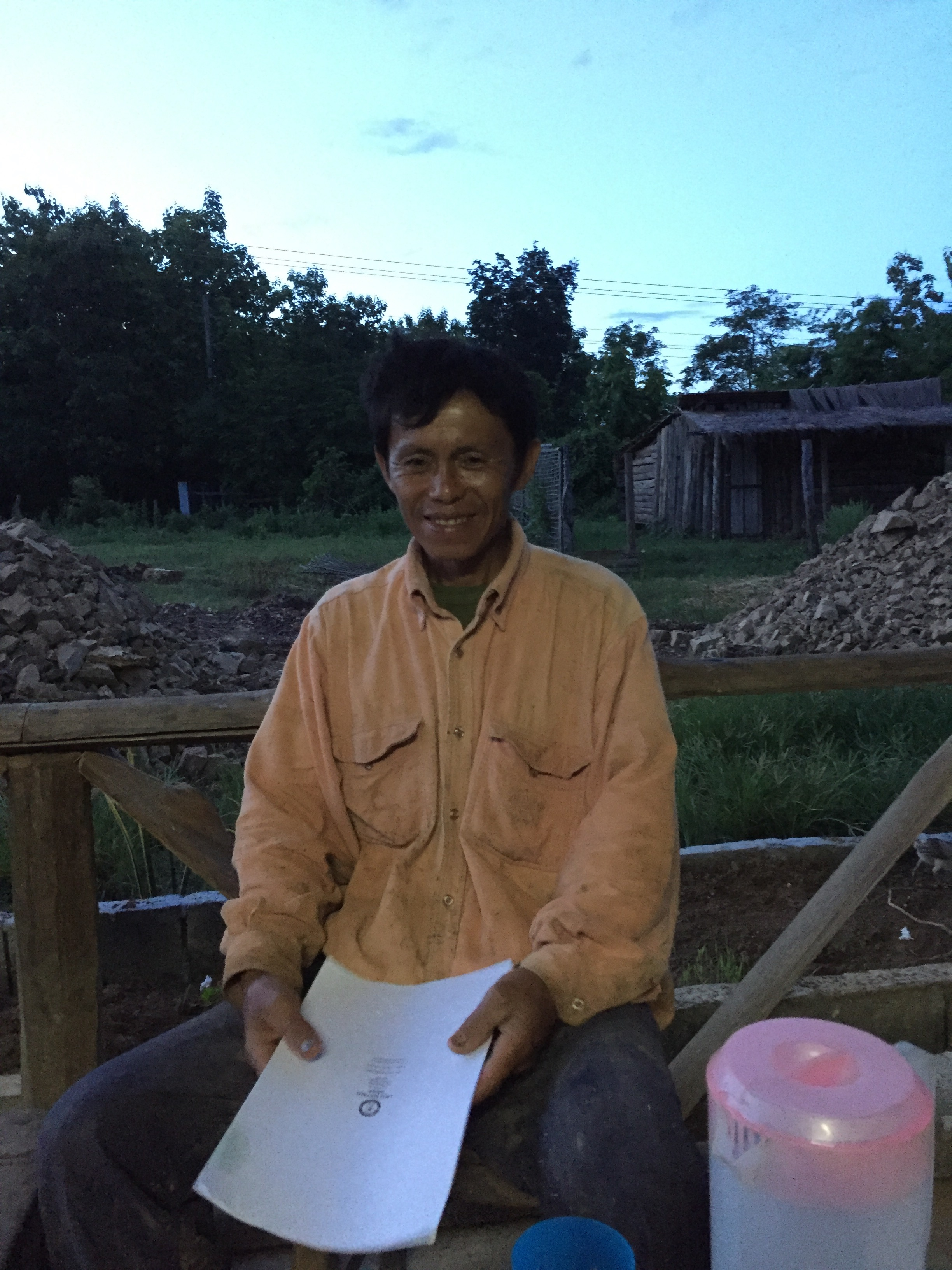 Chief of Thin Keo Village with his buffalo rental agreement