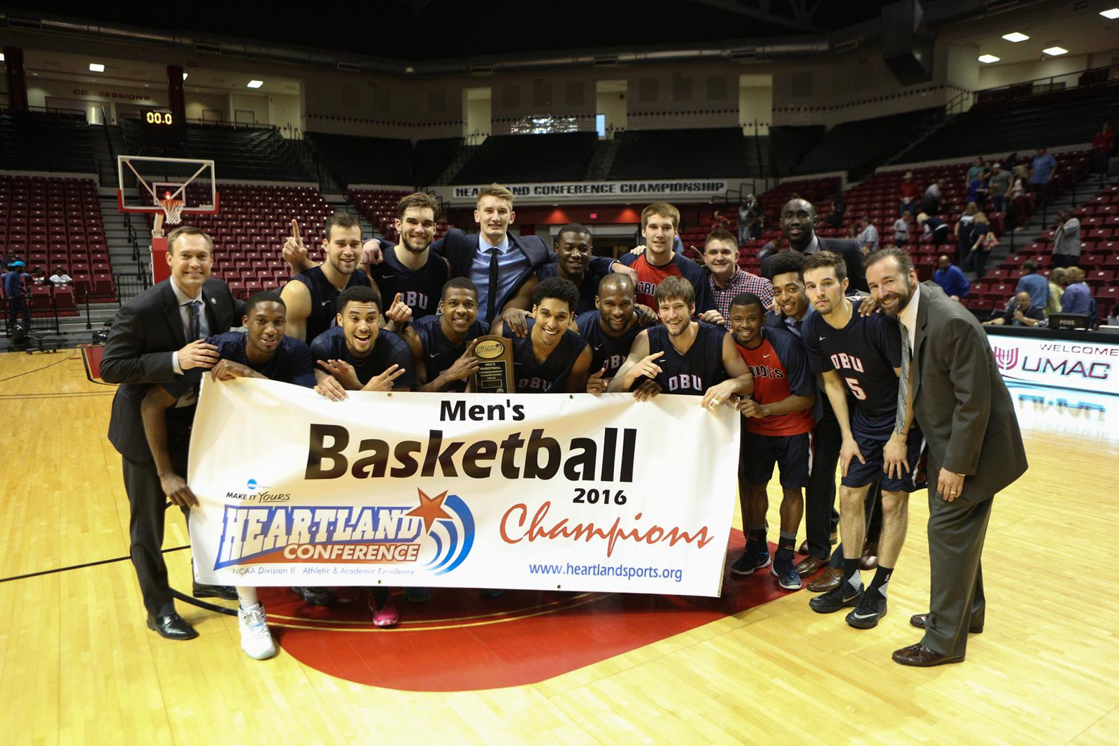 Remy Ndiaye and his Dallas Baptist teammates win the Heartland Conference Championship