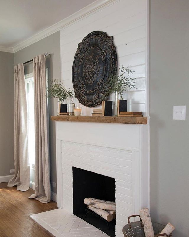 Working on our fireplace today, tag someone who loves before/after pix cuz we are starting off with some crappy before haha! (Pinterest pic for the inspiration!)