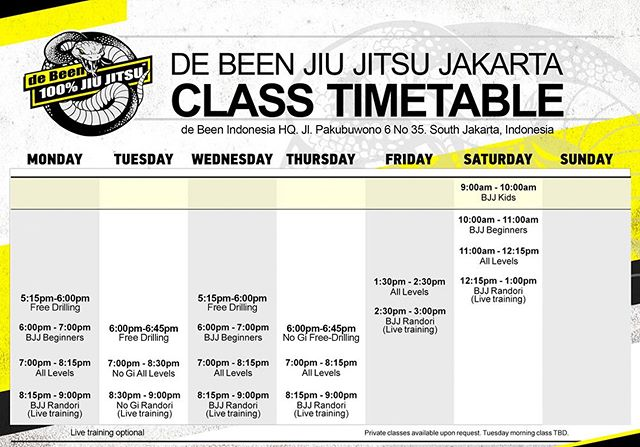 de Been Indonesia HQ's schedule is back to normal as of today. See you on the mat.