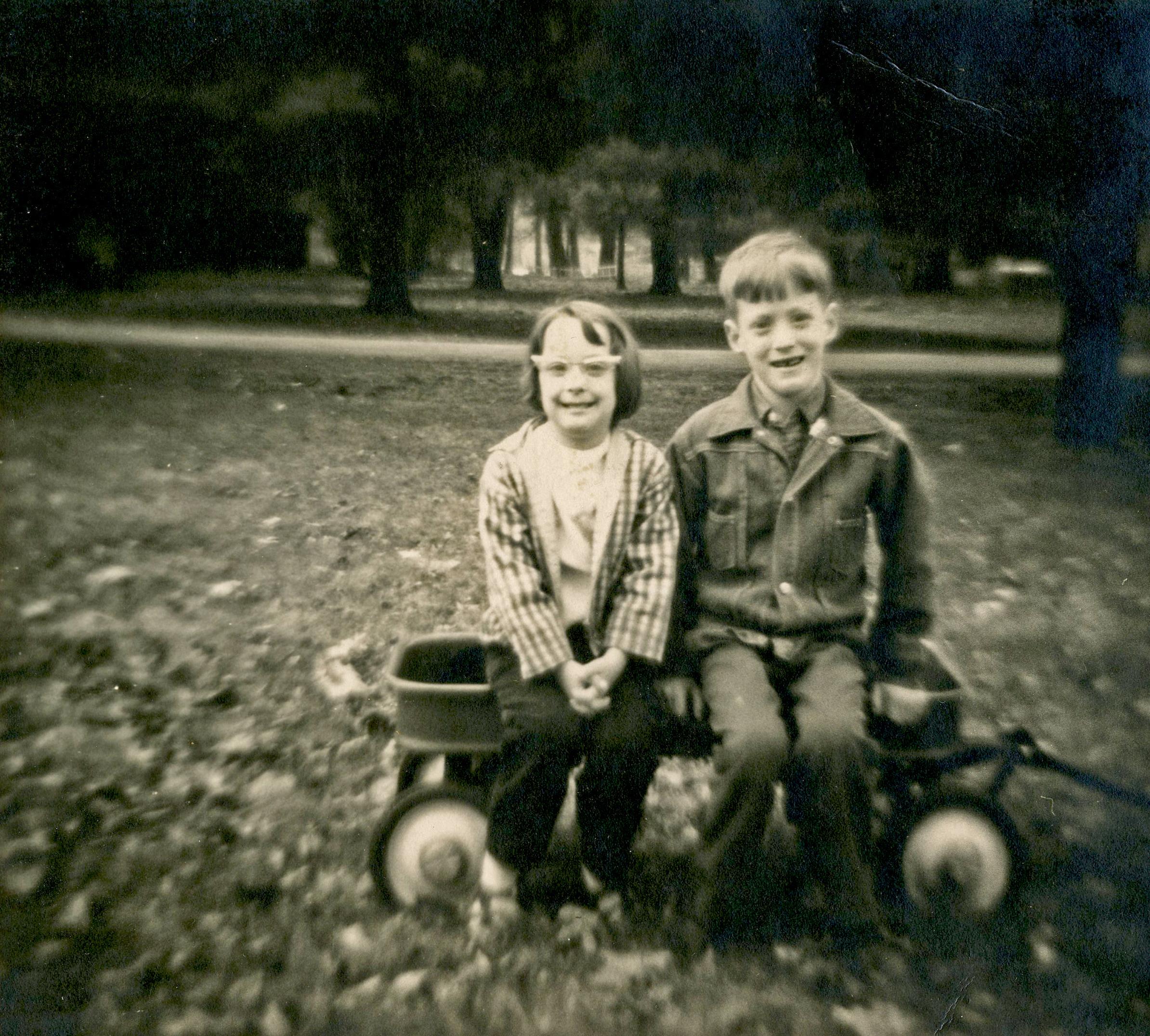 """""""Timmy & Tammy."""" 120 film shot with Rosko camera. 1968."""