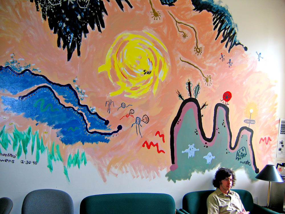 In 1996 I created the University's first Writing Center. In our lounge I painted a map of the Universe using drawings made by my 5-year-old son and niece. I was later told I'd vandalized University property, and the mural was eventually painted over.