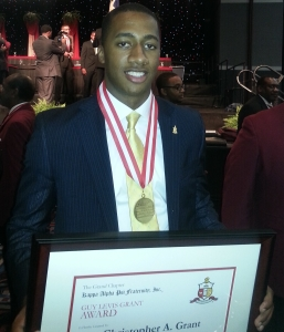 Christopher Grant (Spring 2011) receiving the prestigious Guy Levis Grant Award, one of the highest awards available to an undergraduate member of Kappa Alpha Psi Fraternity, Inc.