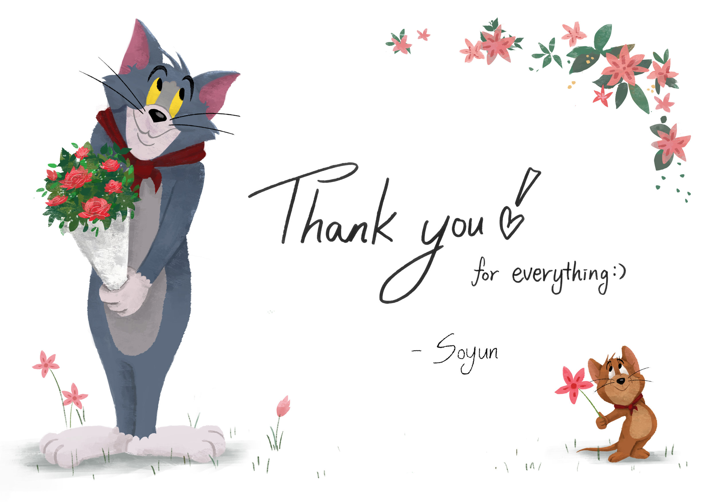I made 'Thank you cards' for my internship to express my gratitude.
