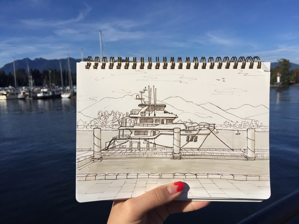 Sketching while traveling, Two things I love to do :)