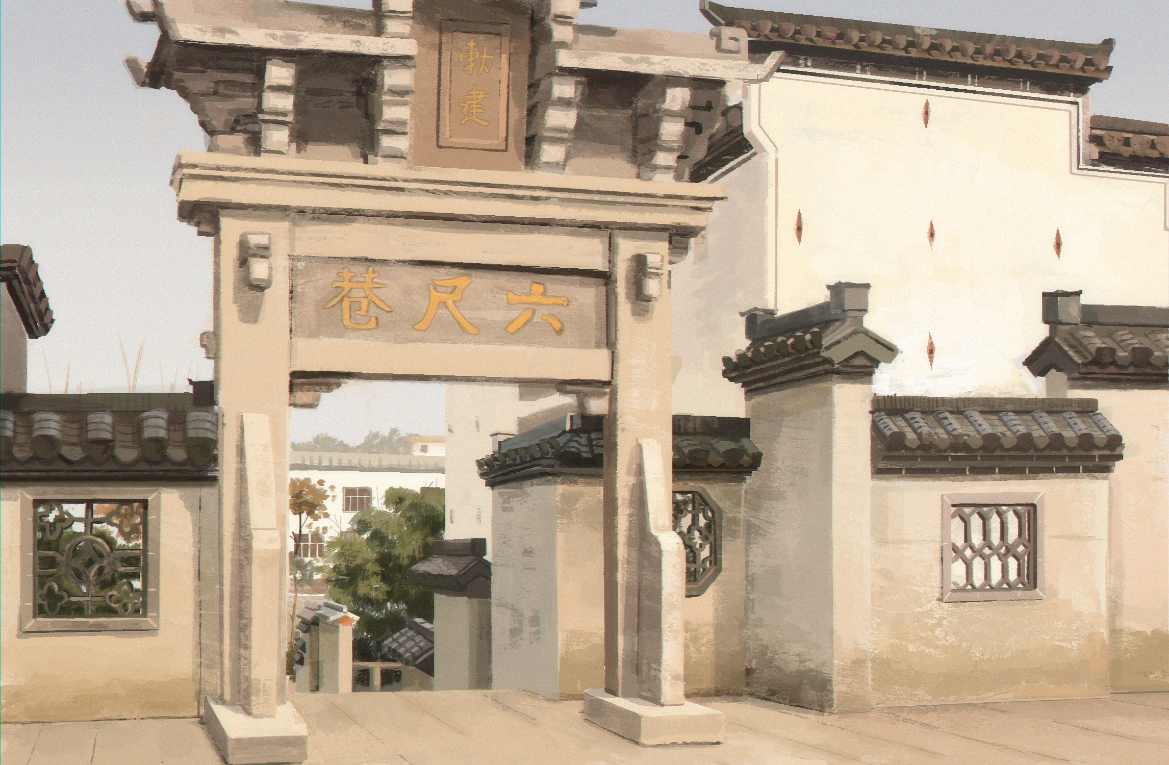 Life painting of the China temple that I visited before.