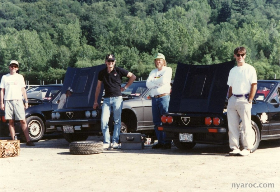 Dan (McNally), me (Rich (Welty, Albany Alfa guy) and Tom (LaCosta, now a pretty serious vintage racer, owns many Alfas)
