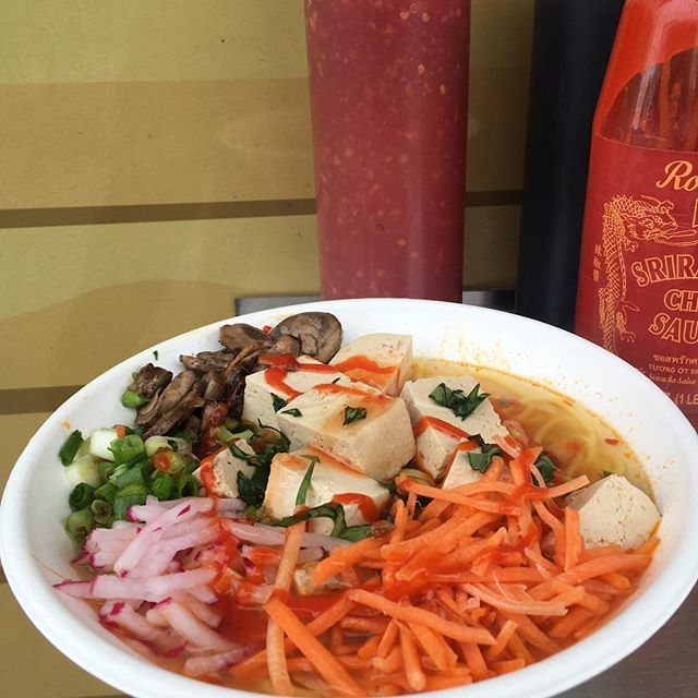 We are SOY into this plant based noodle bowl! Topped with sriracha to really feel the heat🔥Come by, and try it today.