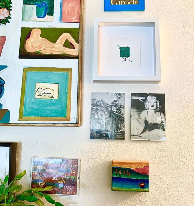 """When you visit your buddy & discover your painting made the art wall 🥰 Canoe Greeter 🛶🌲 4x5"""" 