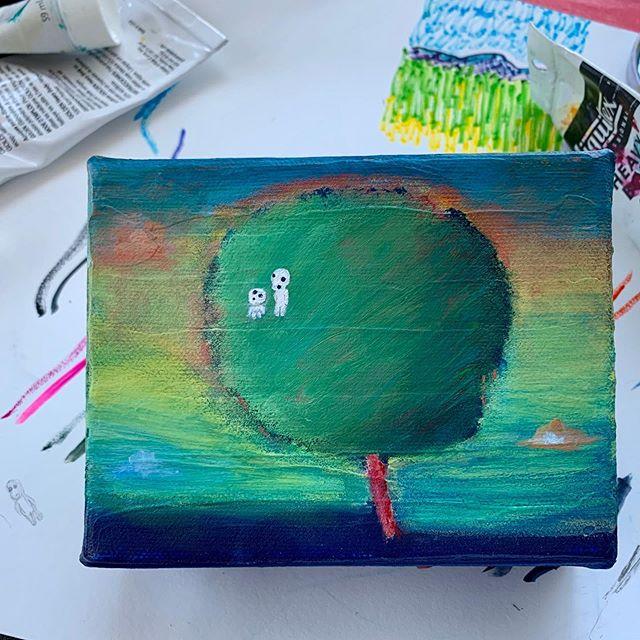 "Ocean & Sky Kodama Tree 🌊☁️🏝for special friends! acrylic on canvas | 4""x5"" #happyart #kodama 木霊"