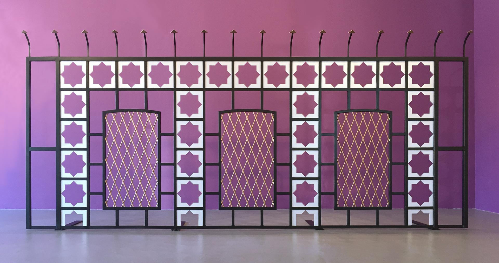 Gate , 2015. Iron, copper, and enamel, 63 x 180 in.