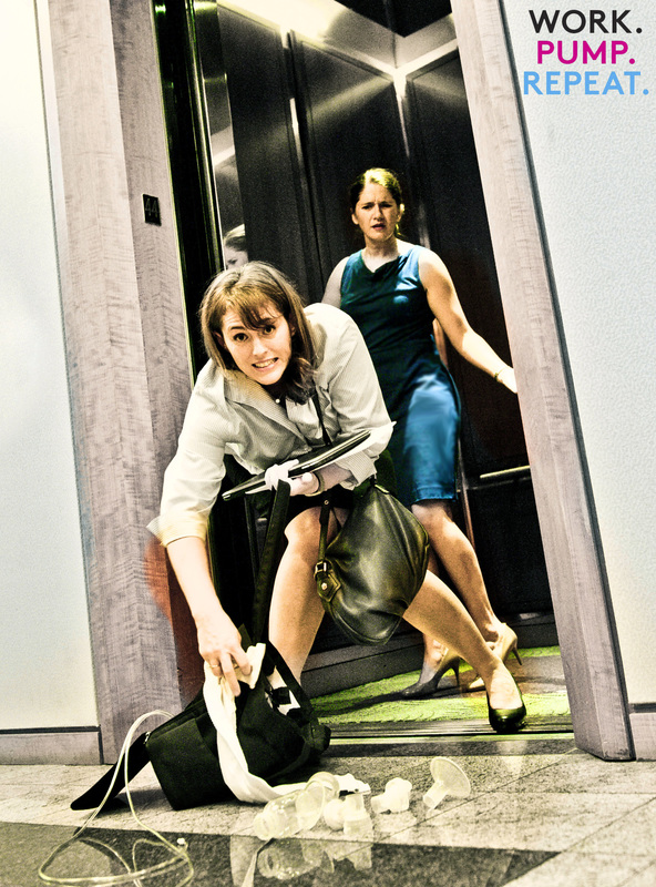 """Nothing says """"I'm a pro"""" like spilling your breast pump parts all over the elevator lobby. [Photo credit: Laura Legg Photography via    workpumprepeat.com   ]"""
