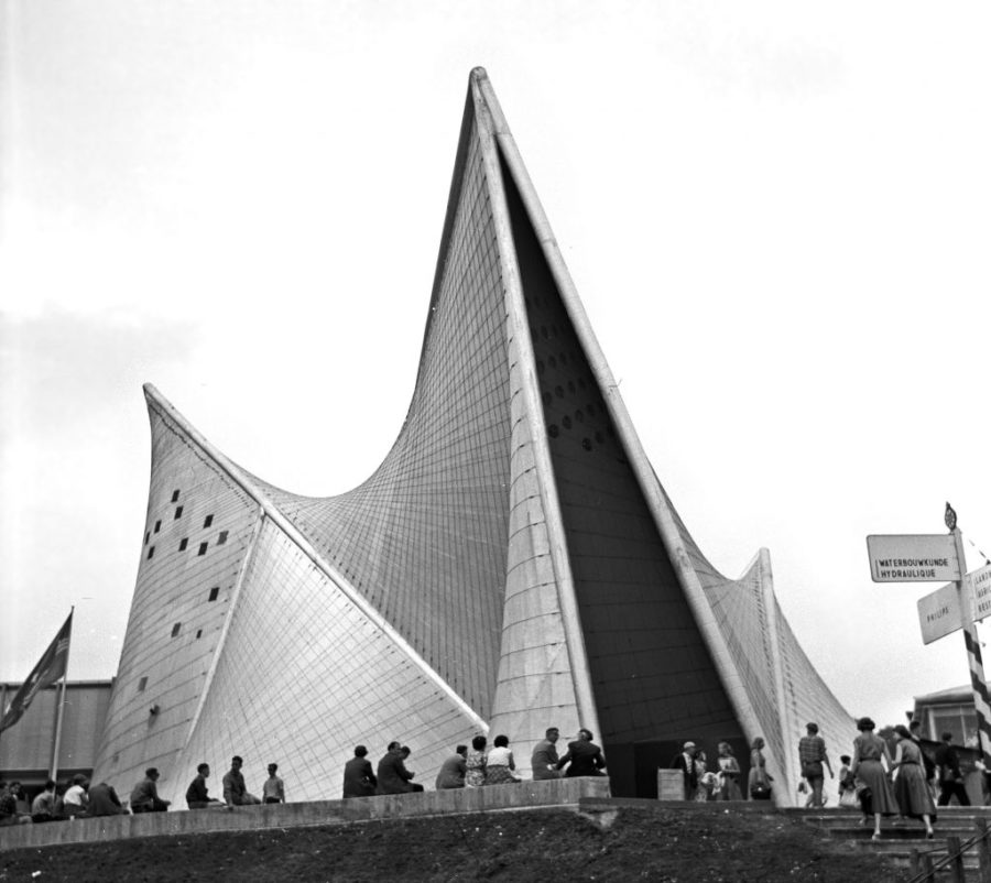 The Philips Pavilion, based on hyperbolic paraboloids originally used in Metastaseis musical piece by Iannis Xenakis