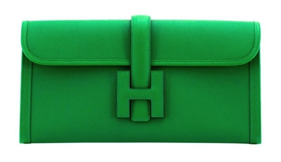 Green Hermes leather clutch