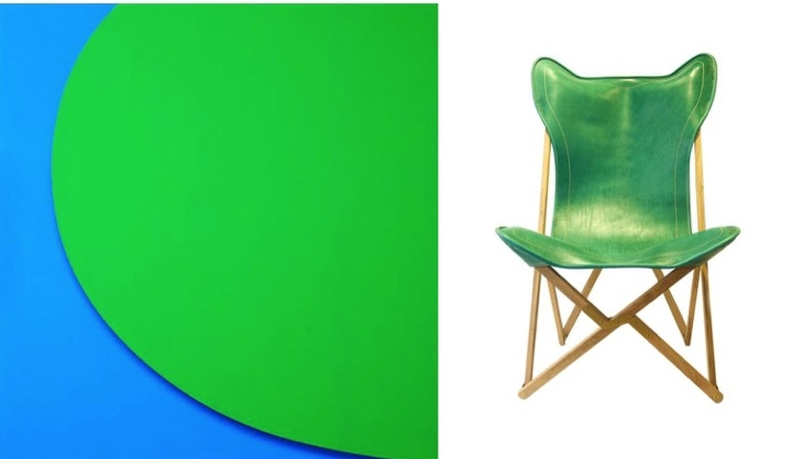Left: Artist Ellsworth Kelly / Right: Green Leather Tripolitan Chair