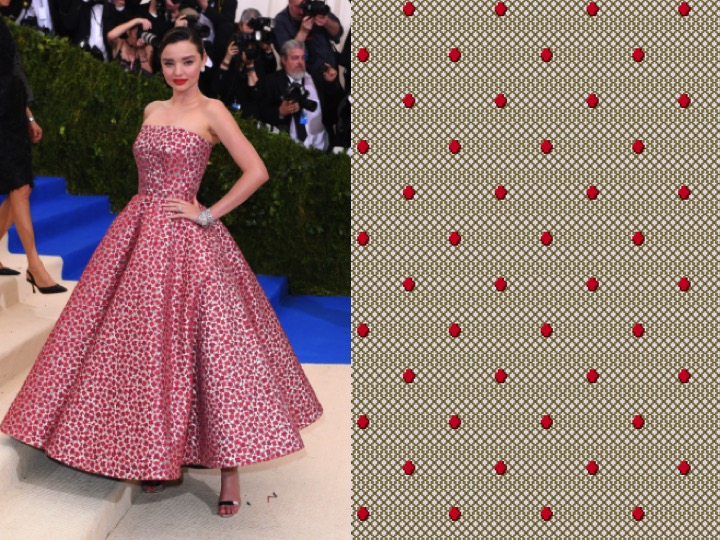Left: Miranda Kerr wearing Oscar de la Renta / Right: 1-TX05371-2