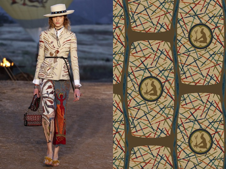 Left: Dior Resort 2018 /  Right: 1956 Design no. LX04493-1