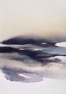 """Artist Sabrina Garrasi """"Over the Clouds"""" painting"""