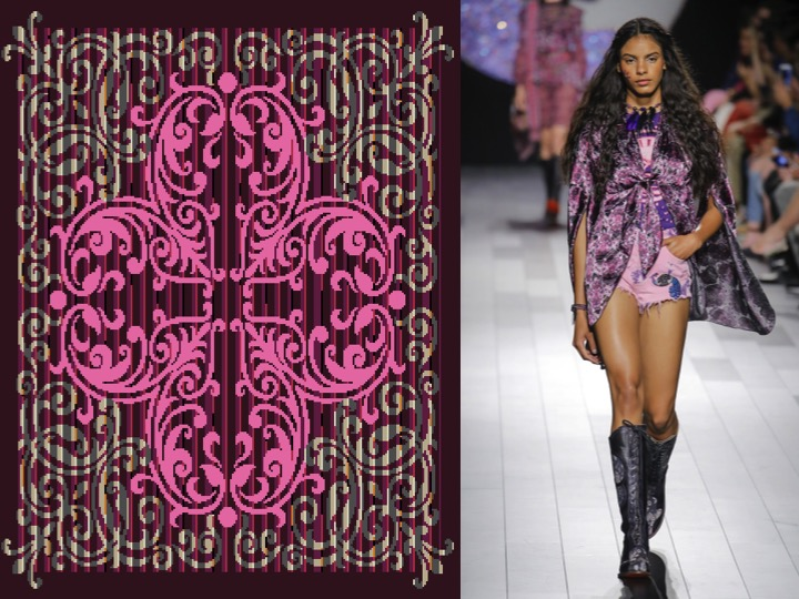 Left: Design no. SX01701-2  / Right: Anna Sui RTW SS'18