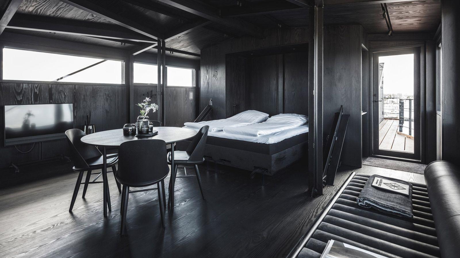 Industrial crane transformed into retreat meeting space/ spa - Copenhagen