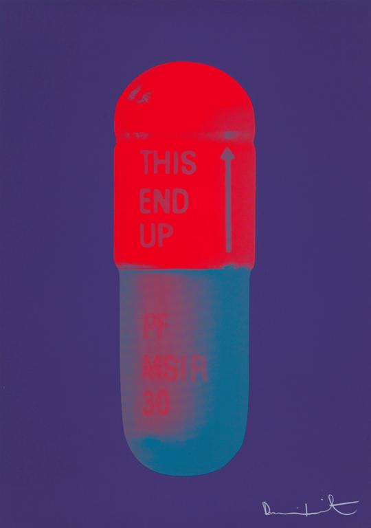 Artist Damien Hirst - The Cure, Violet/Electric Red/Powder Blue 2014