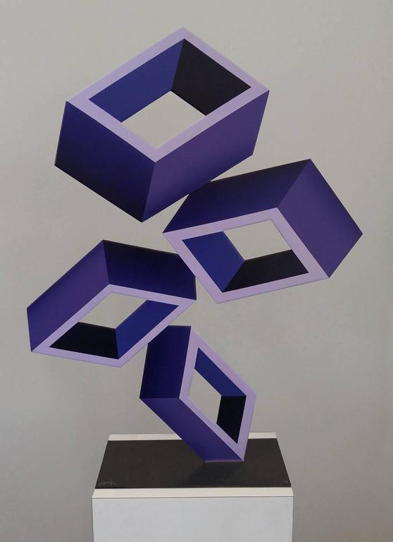 """Sanseviero """"4 Violet Boxes"""" large Illusion Sculpture, Painted Metal 2016"""