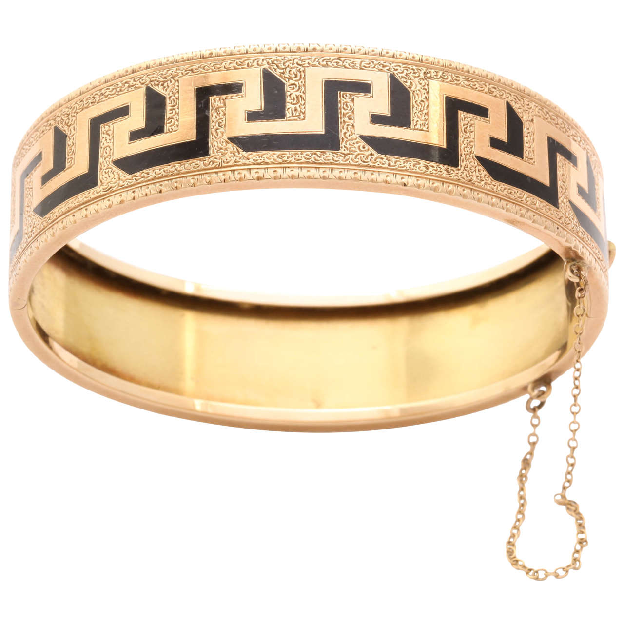 Victorian Greek Key Pattern Enamel Gold Bangle