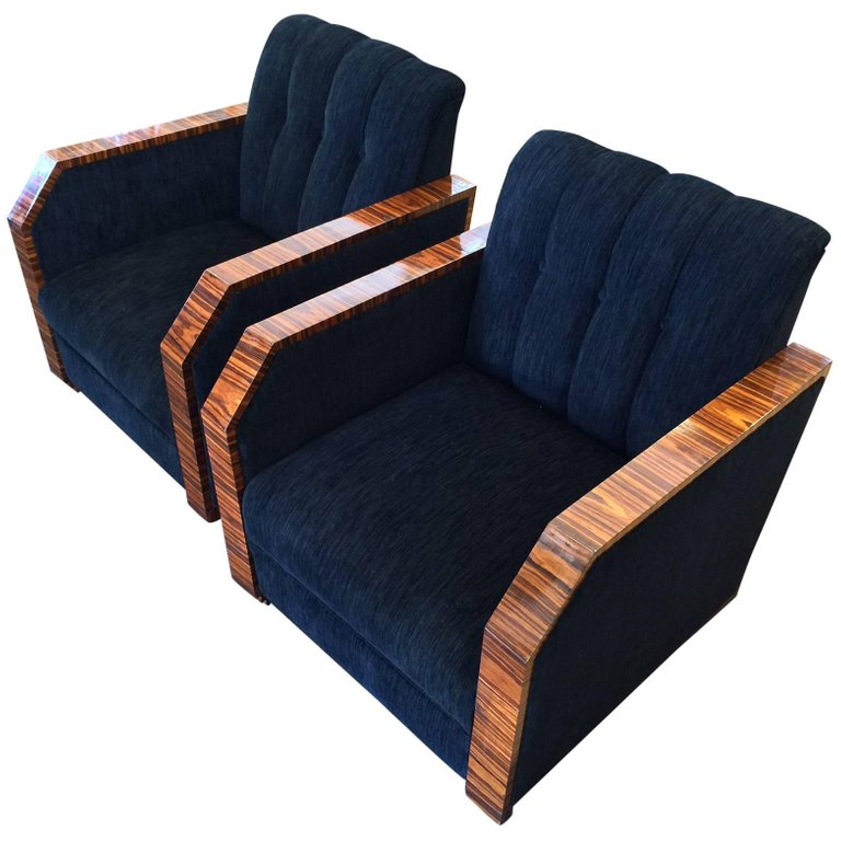 Pair of Art Deco Makassar Armchairs
