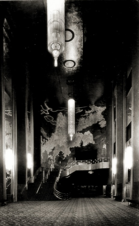 Grand Foyer at Radio City Music Hall in the 1930's - New York City