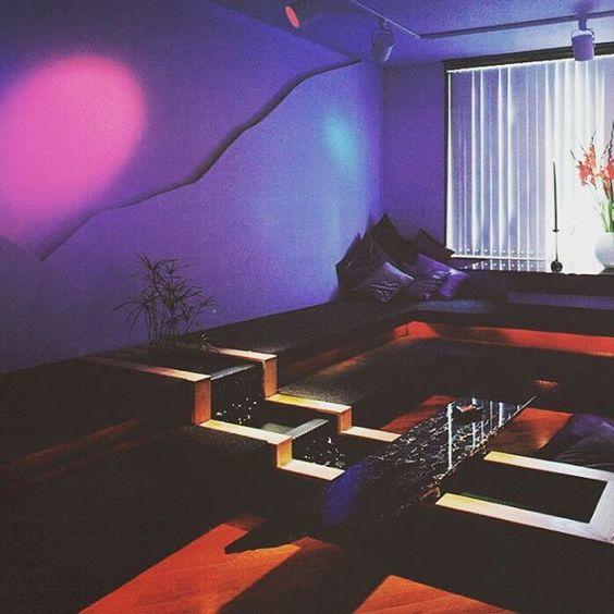 Retro 80's neon interior space