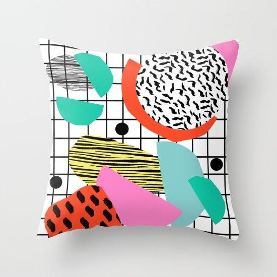 80's Memphis Style Throw Pillow