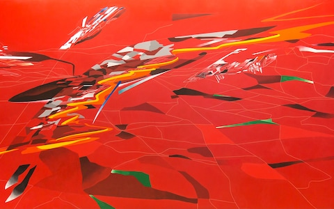'Red Metropolis' [2015] a study based on Zaha Hadid's original painting from 1988.