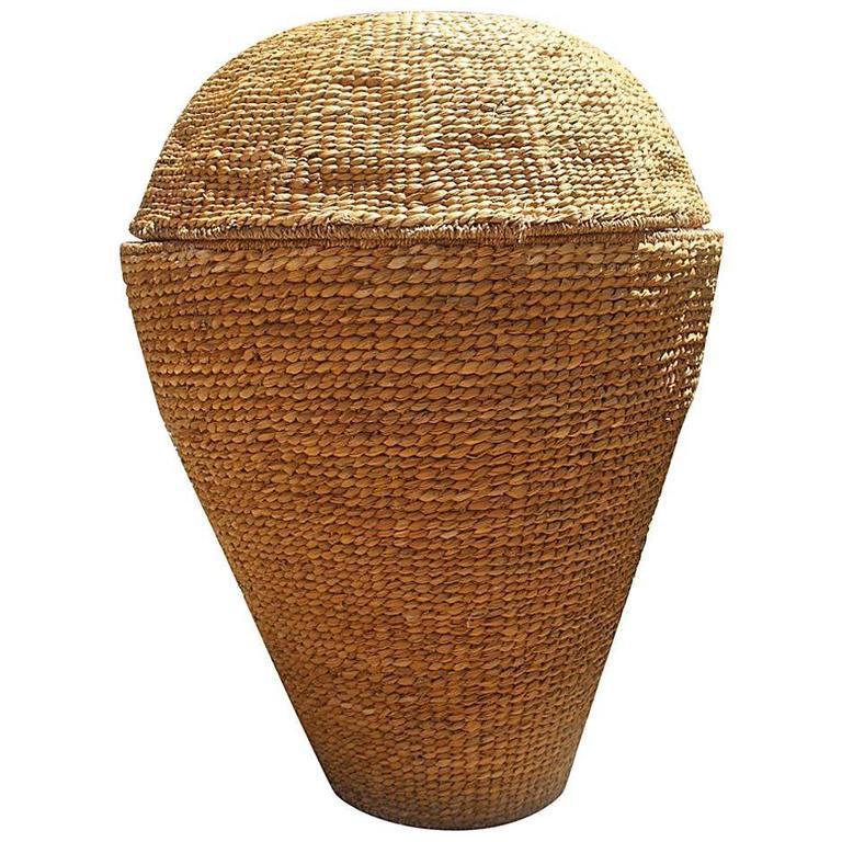 Vintage Large Woven Straw Basket