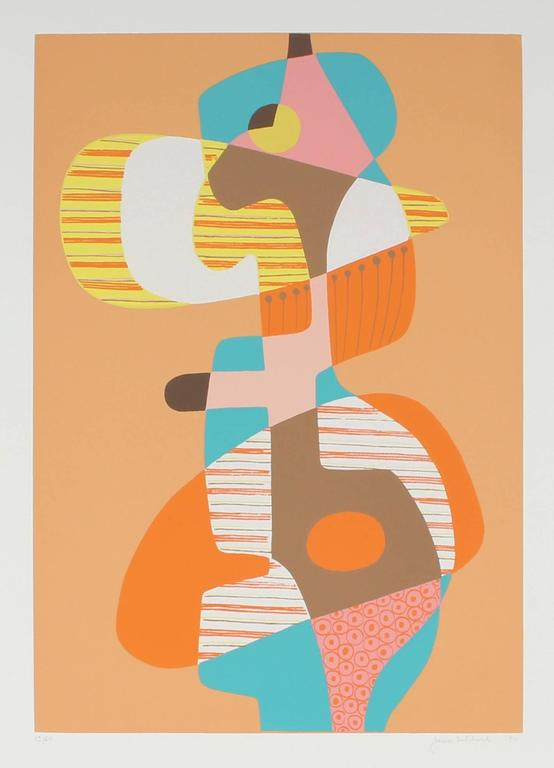 Artist Jane Mitchell - Abstract Cubist Serigraph in Orange, 1971