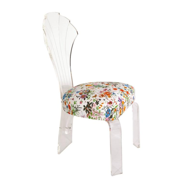 Shellback Lucite Floral Fabric Chair