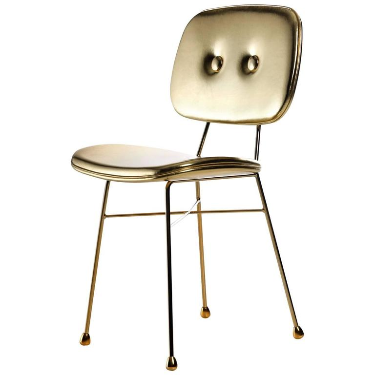 "Moooi ""The Golden Chair"" in Gold Synthetic Leather and Gold Chromed Steel"