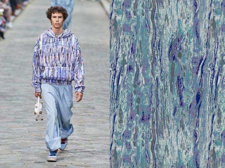 Left: Men's Spring 2020 RTW - Louis Vuitton | Right: Royal Thai Design no. NX-039444-7