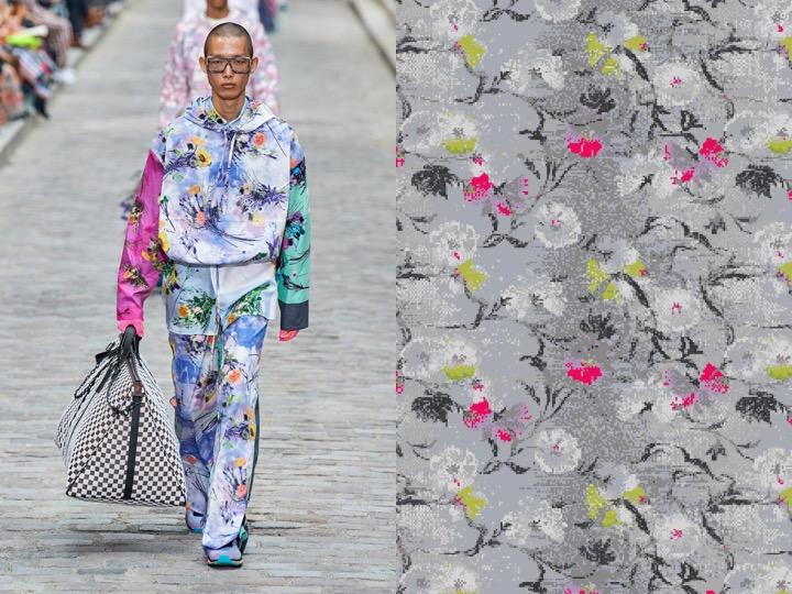Left: Men's Spring 2020 RTW - Louis Vuitton | Right: Royal Thai Design no. NX-034294-1