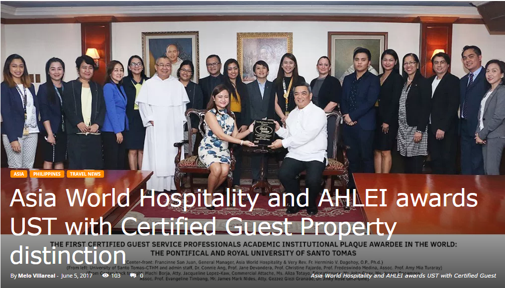 OUT-OF-TOWN-BLOG • june 5, 2017  read full article:  https://outoftownblog.com/asia-world-hospitality-and-ahlei-awards-ust-with-certified-guest-property-distinction/