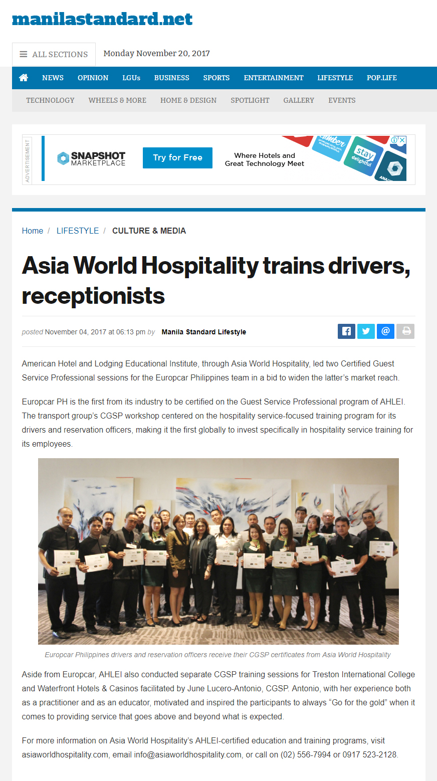 Manila Standard Philippines | November 6, 2017  http://thestandard.com.ph/lifestyle/arts-life/250991/asia-world-hospitality-trains-drivers-receptionists.html