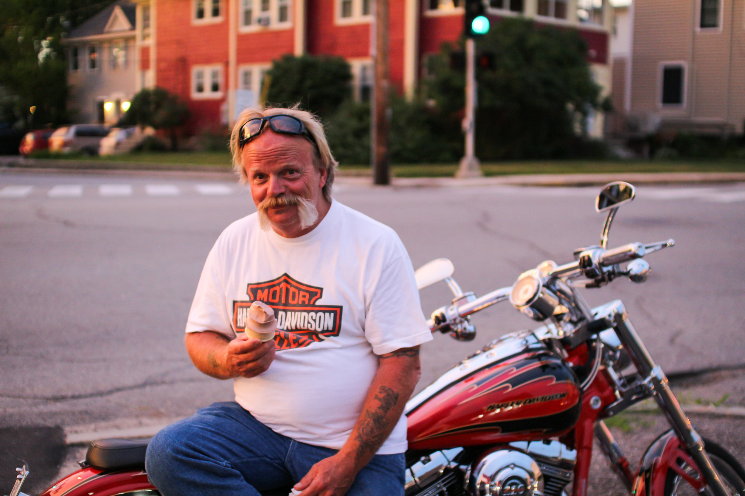 Ron, out for a ride on a beautiful evening stopped by for a cone.