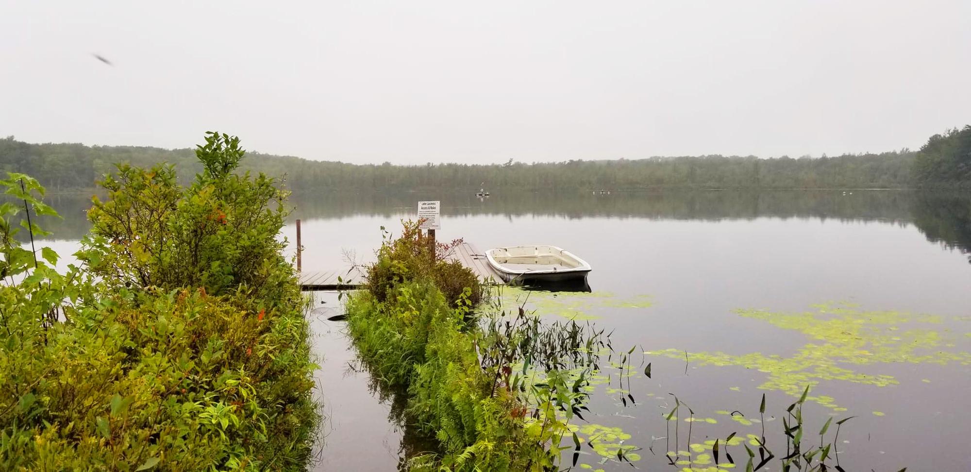 View from the main docks at Lake Lacawac near Lake Ariel, Pennsylvania