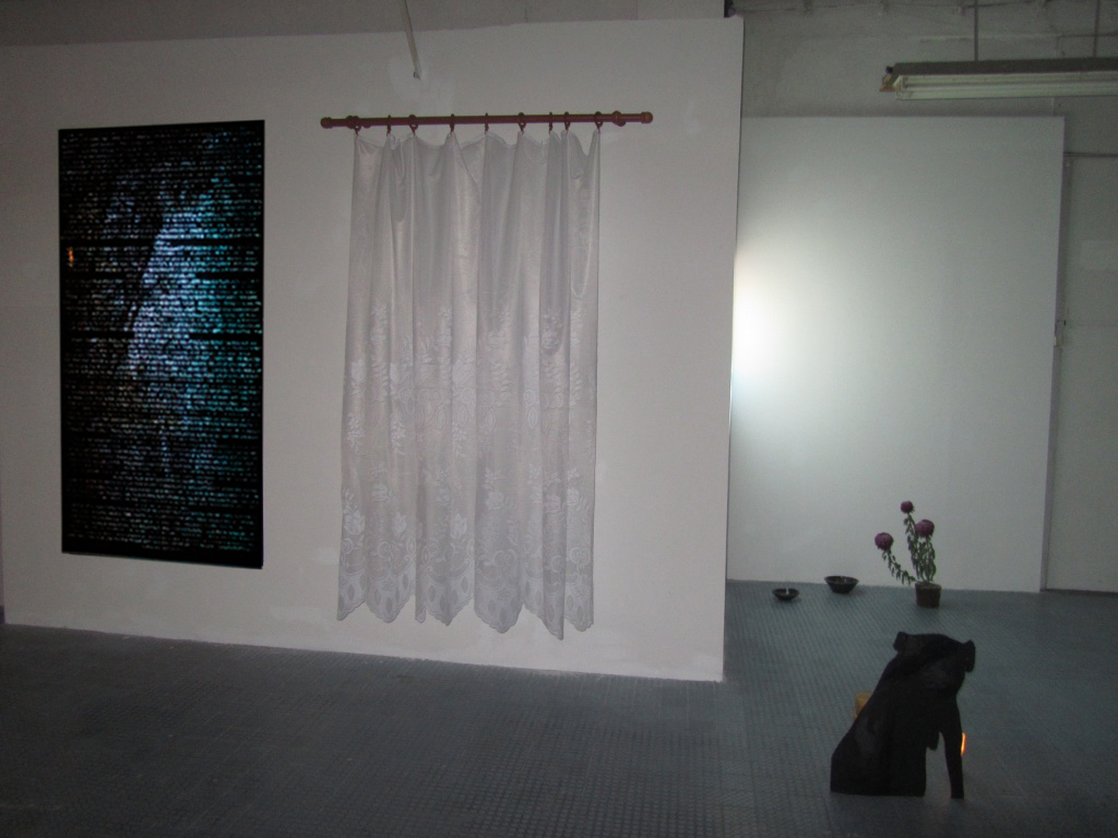 The Light and the Heavy , 2016,Installation view at D'Clinic Studios, Zalaegerszeg, Hungary  1. The boar who became a deer interactive mapping video on digital print.  2. Resistance lace curtain and curtain rod  3. (Front) He had been given a name and it was clear that he knew something wood, paper, paint, bricks, candle  4. (Back) Untitled cermic bowls made at Gébárti Kézművesek Háza during the Saturday morning pottery workshop, Chrysanthemum 'Regal Mist Purple' bought at the Zalaegerszeg farmers market on the 30th of October 2016