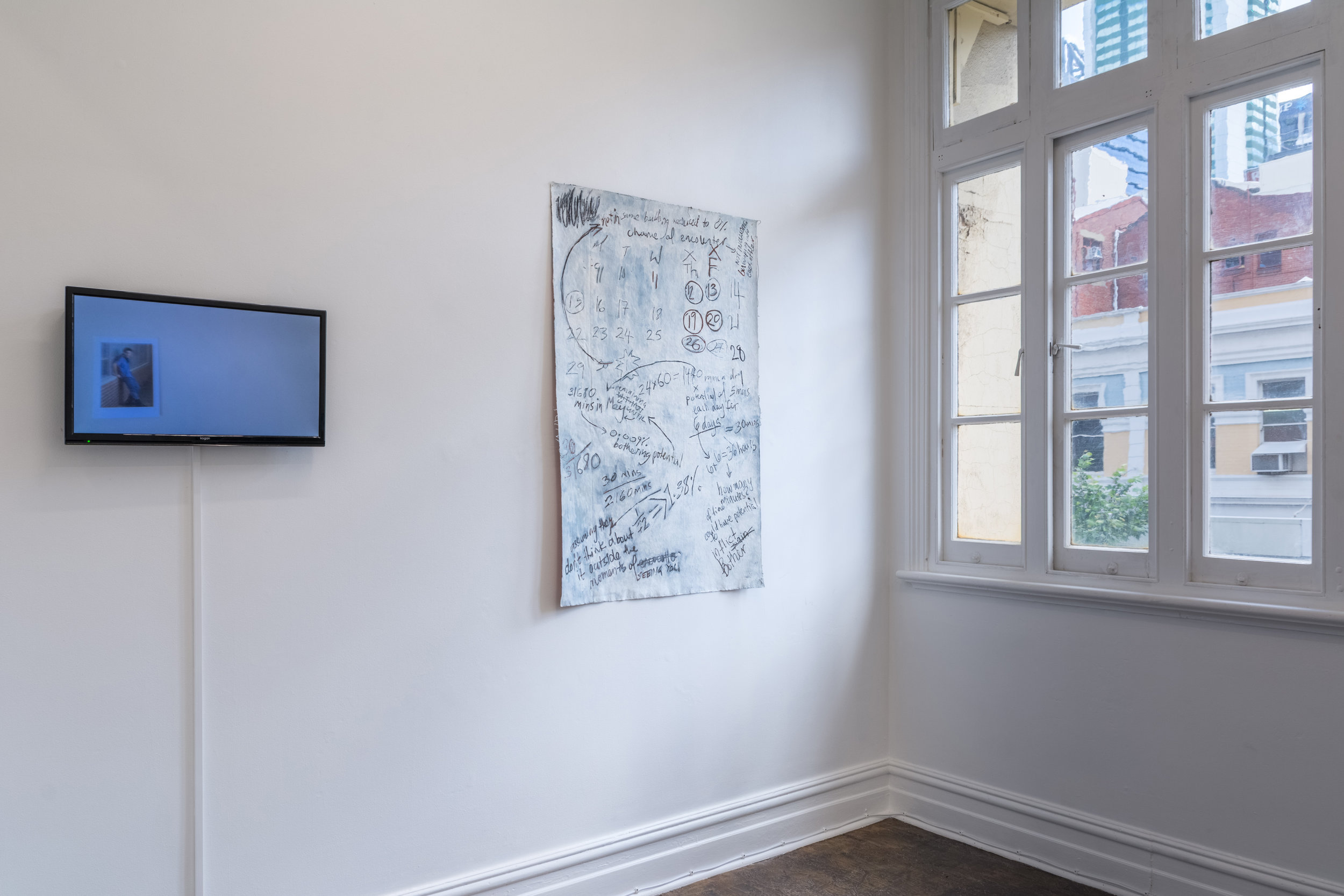 Left to right: Natasha Lall  Printer Pics [Take Me Home, Country Roads Triology], 2017  and Sophie Durand,  assuming they don't spend any time thinking about it and not including the time you spend thinking/worrying/obsessing and getting upset about it,  2018 mixed media on canvas, 81 x 124 cm  Photograph: Tim Palman