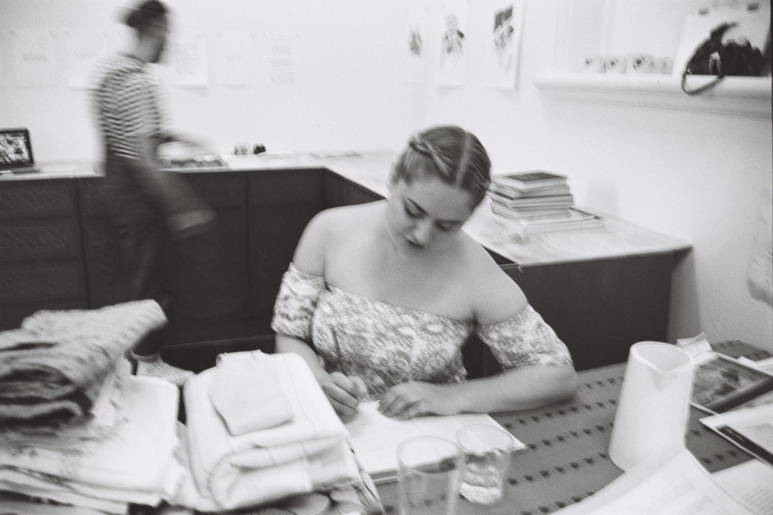 Sophie Durand, image of rehearsal for 'Dolphin Days' during its development at the Perth Centre for Contemporary Arts, 2017, 35 mm black and white photograph