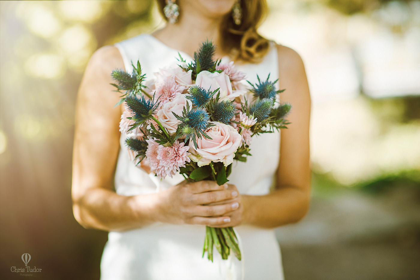 The blue thistles were a great choice for a bridal bouquet.
