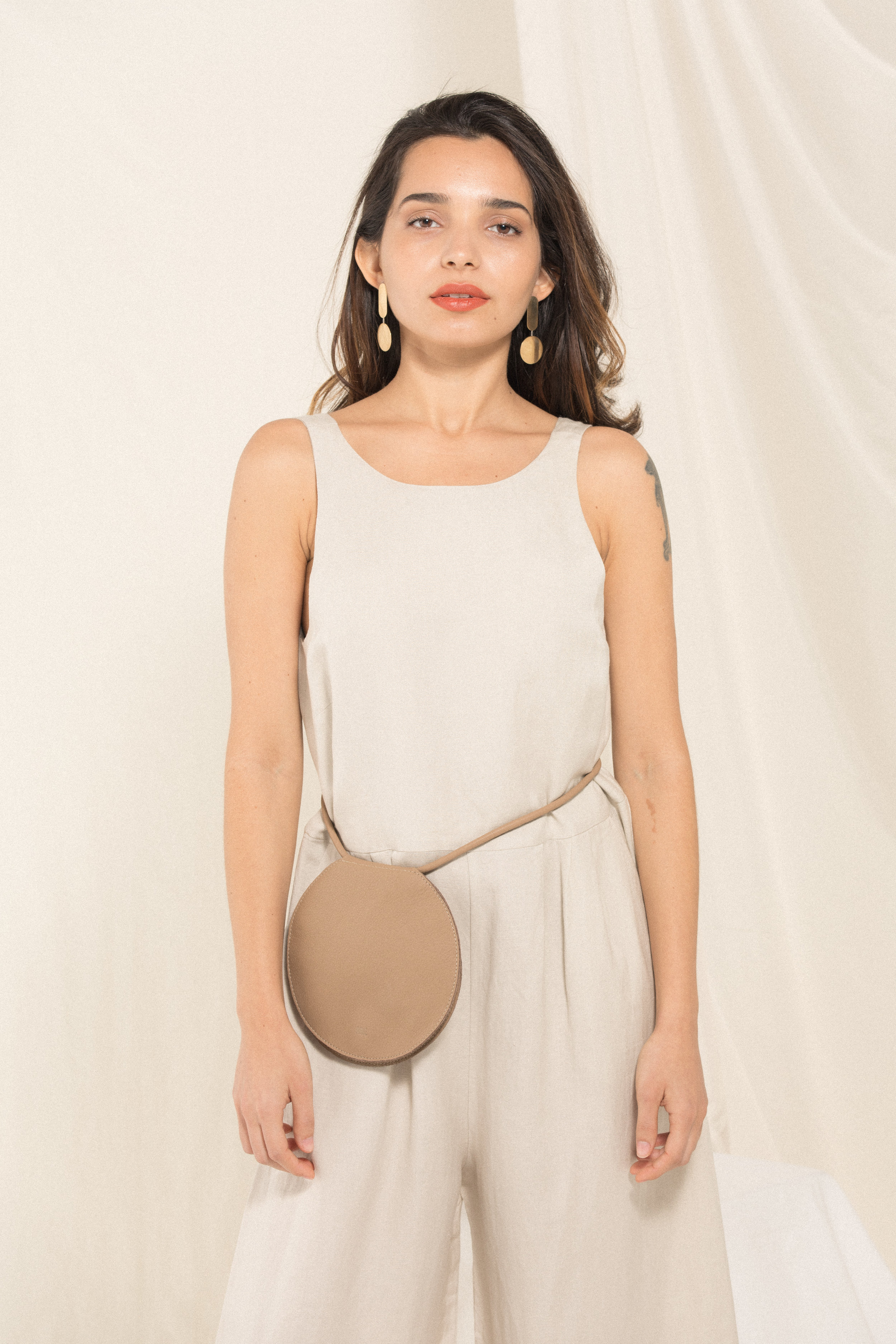 Now Earrings / Disc Bag -Dust / Crop Pantsuit - Khaki