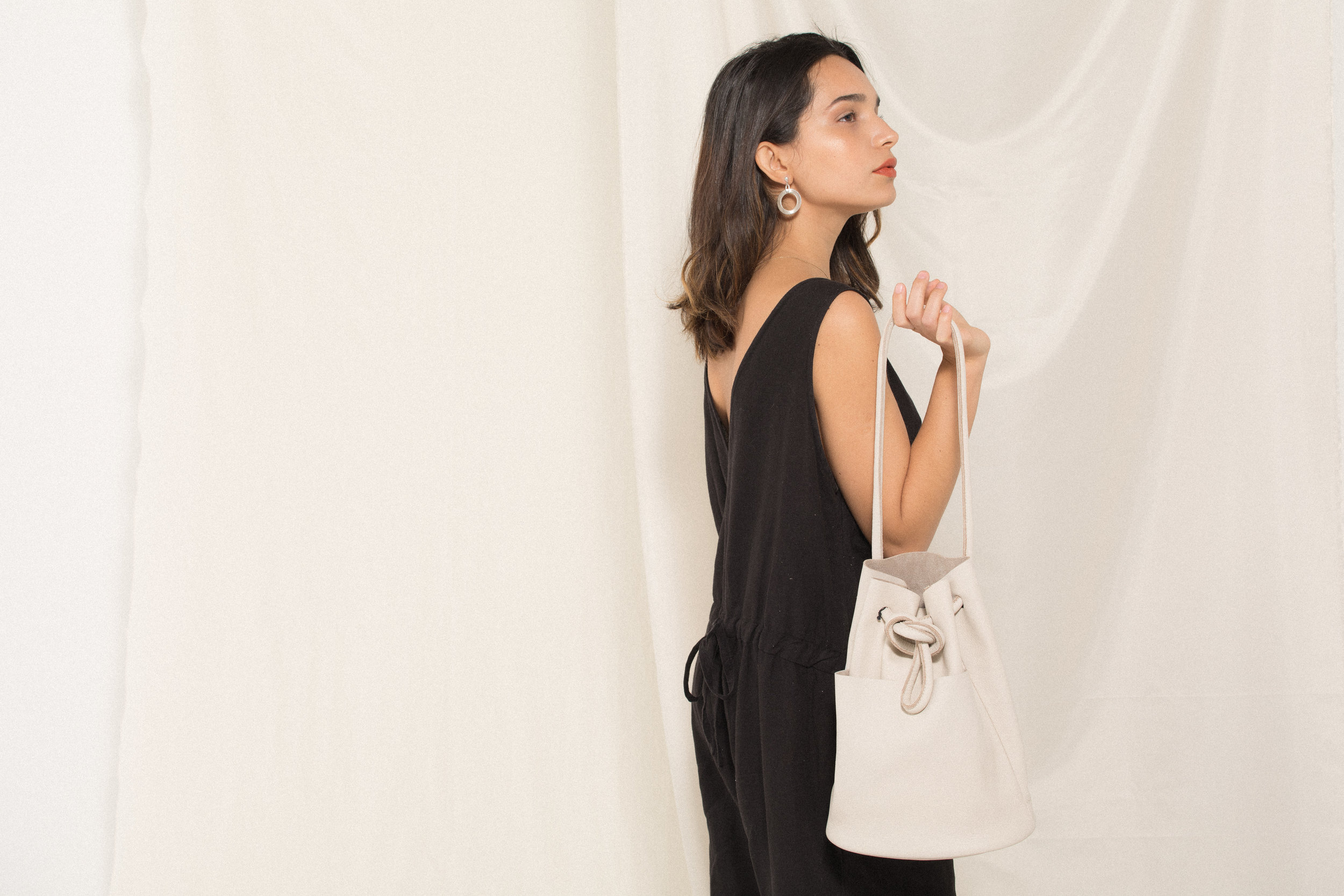Radiant Hoop Earrings / Alison Crop Jumper - Black / Tube Bag - Bone